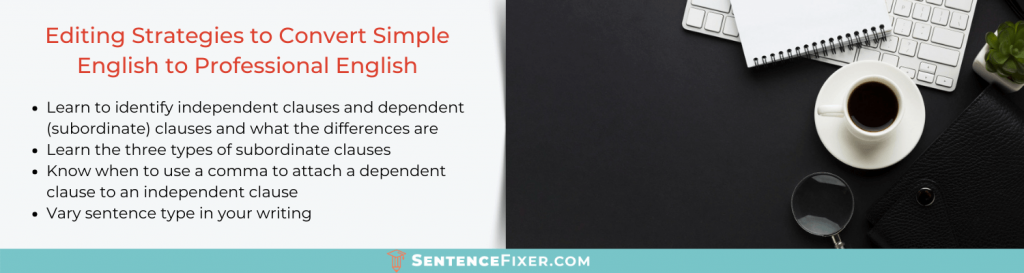 how to convert simple english to professional english